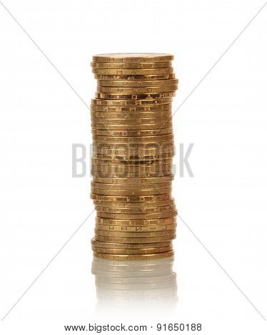 Coins stacks on white