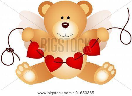 Cupid teddy bear holding string hearts