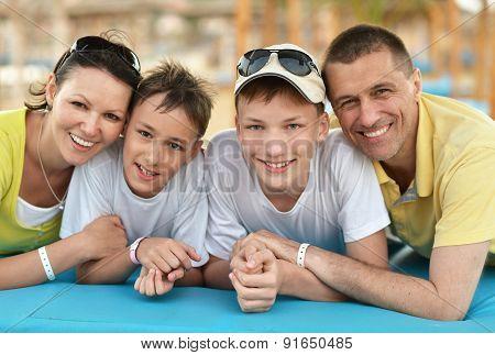 Family having lunch on beach