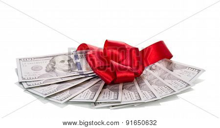 Dollar banknotes with ribbon
