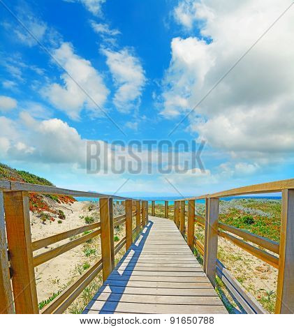 Wooden Boardwalk In Capo Testa