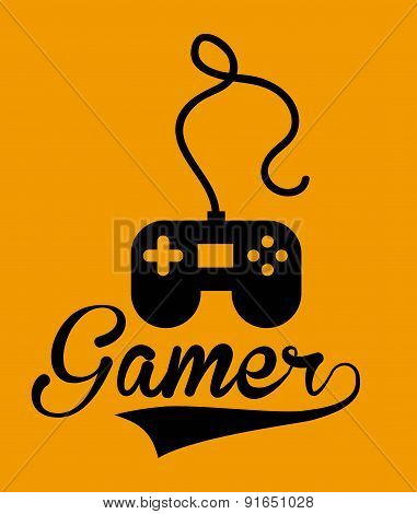 Videogame design over orange background vector illustration
