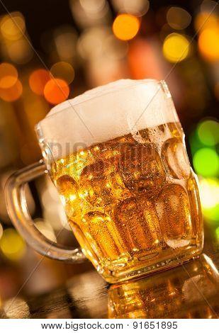 Beer mug placed on bar counter