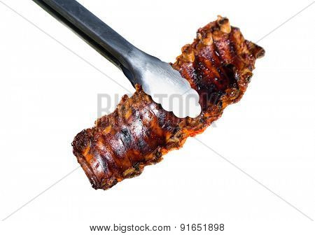 Delicious ribs isolated on white background