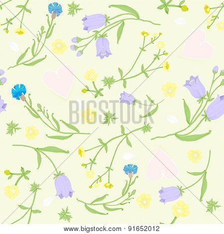 seamless pattern of wildflowers and pink hearts. vector illustration