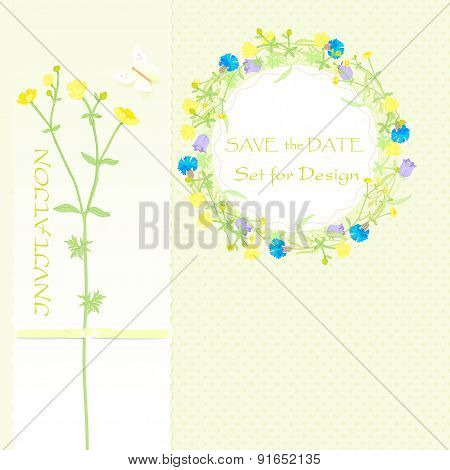 background for design wildflowers flower wreath and banner save the date. vector illustration