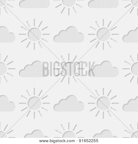 Shining sun and clouds seamless pattern