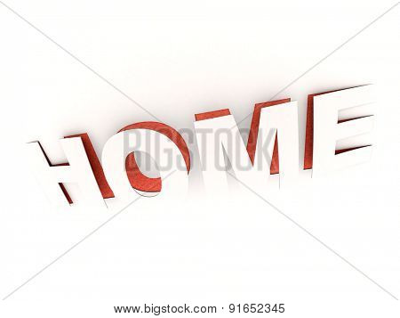 3D rendering of the cut out  word home in white and red