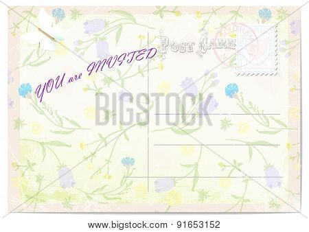 wedding invitation postcard. fine wildflowers and butterfly.vector illustration