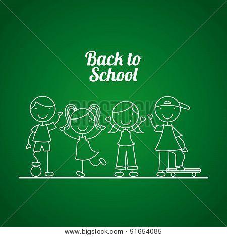 Kids design over green background vector illustration