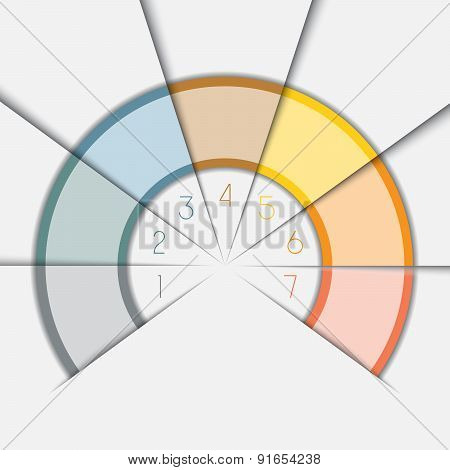 Color Semicircle Template With Text Areas On 7 Positions