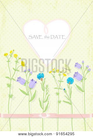 background invitation banner in the shape of heart ribbon wildflowers butterfly. vector illustration