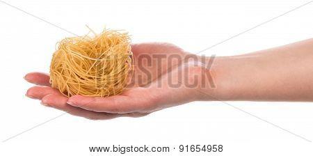 Pasta in female hand