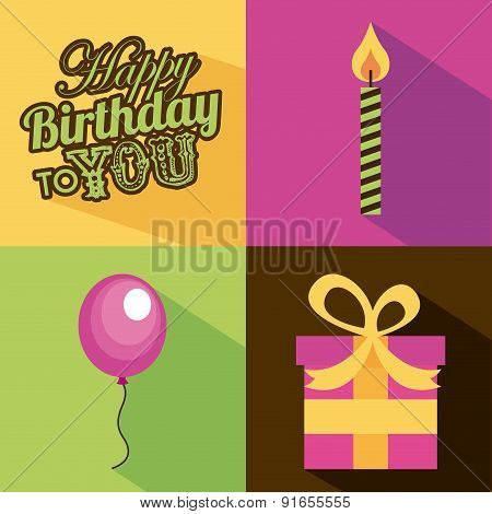 Birthday design over colorful background vector illustration