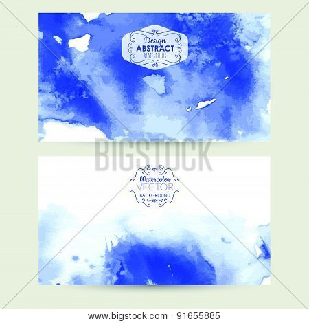 Vector Illustration. Blue Watercolor Background.