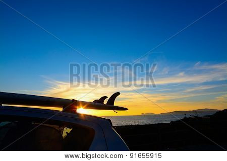 Surfboard Silhouette Under A Colorful Sky