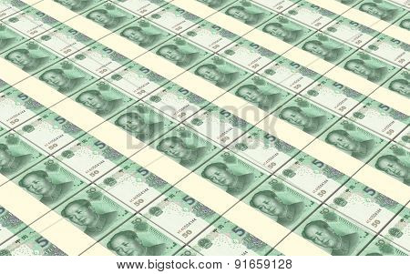 Yuan money bills stacks background.