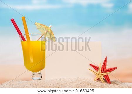 Juice, umbrella and starfish