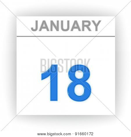 January 18. Day on the calendar. 3d