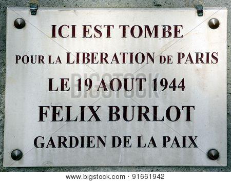Memorial of Burlot Felix