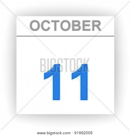 October 11. Day on the calendar. 3d