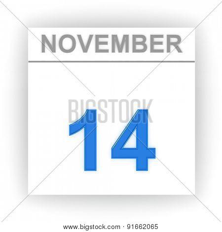 November 14. Day on the calendar. 3d