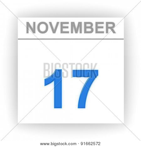 November 17. Day on the calendar. 3d