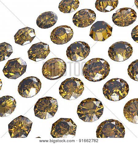 Set of round cognac diamond on black background. Gemstone