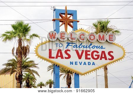 Fabulous Vegas - Welcome To Fabulous Las Vegas In Nevada State. Las-Vegas Strip Entrance Sign.