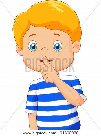 Cartoon boy with finger over his mouth