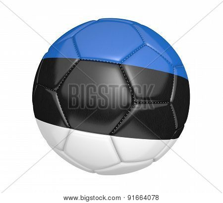Soccer ball, or football, with the country flag of Estonia