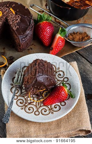 Slice Of Homemade Chocolate Cake Serving On Retro Plate