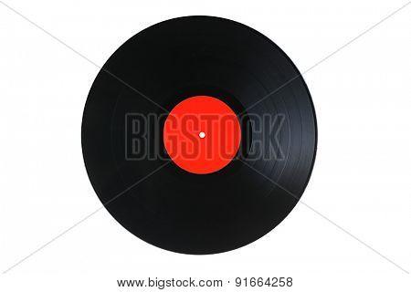 Black vinyl record isolated on white