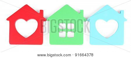 Toy houses isolated on white