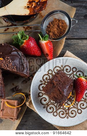Overhead View On Chocolate Torte Cake Served On Plate