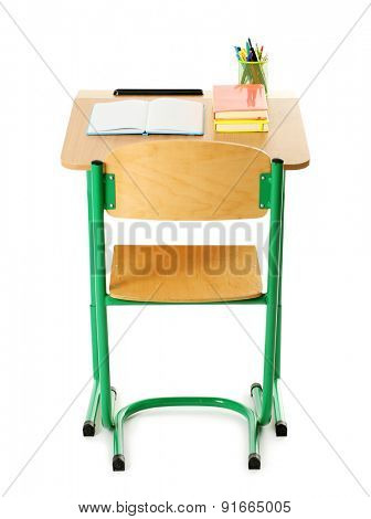 Wooden desk with stationery and chair isolated on white