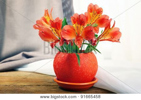 Beautiful alstroemeria in pot on fabric background