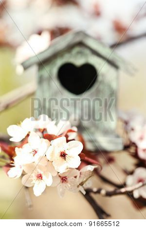Decorative nesting box on bright background