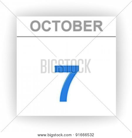 October 7. Day on the calendar. 3d