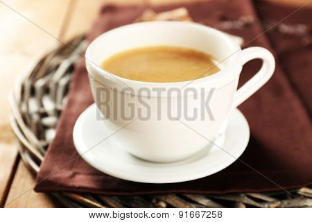 Cup of coffee on table, closeup