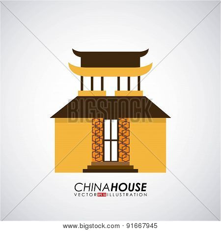 China design over gray background vector illustration