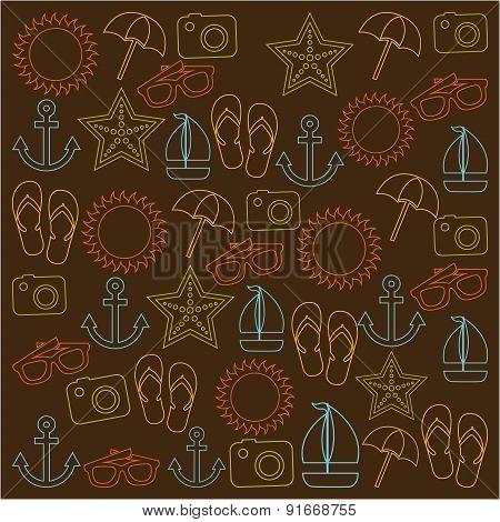 Summer design over brown background vector illustration