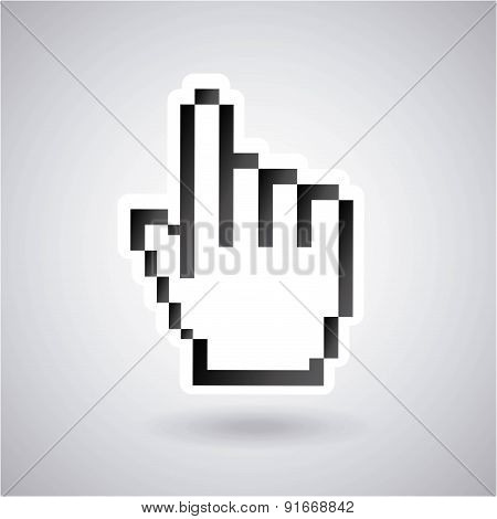 Hand design over gray background vector illustration