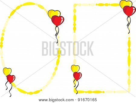 party balloons with frame