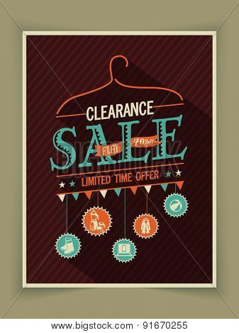 Vintage poster, banner or flyer design of Clearance Sale for limited time offer.