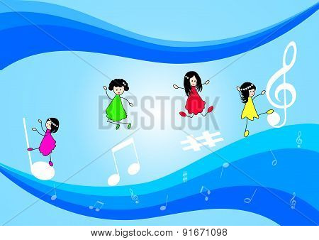 Children and music notes