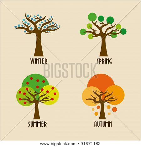 Seasons design over beige background vector illustration