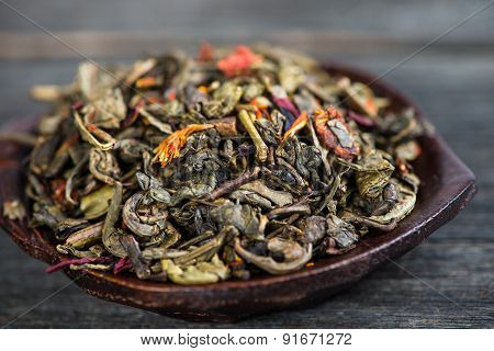 Aromatic Antioxidant Green Tea On Wooden Board