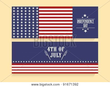 4th of July, American Independence Day celebration website header or banner set in national flag colors.