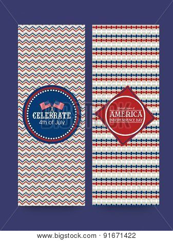 Floral design decorated website banner set for 4th of July, American Independence Day celebration.